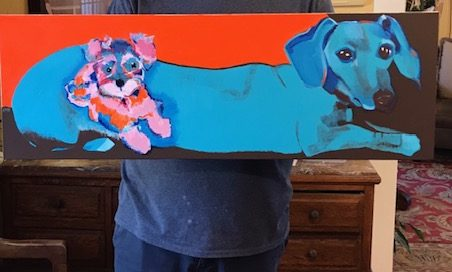 Charles with his new painting of Chili the Turquoise Peer and Poppie